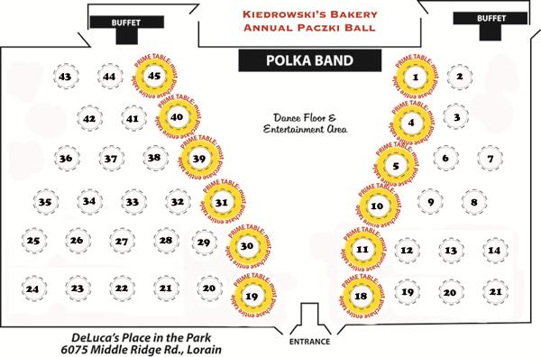 Paczki Ball Seating Chart - Kiedrowski's Bakery